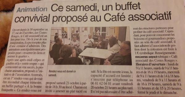 """Buffet partagé """"à la bonne franquette"""" - Centre Presse / 17 octobre 2017"""