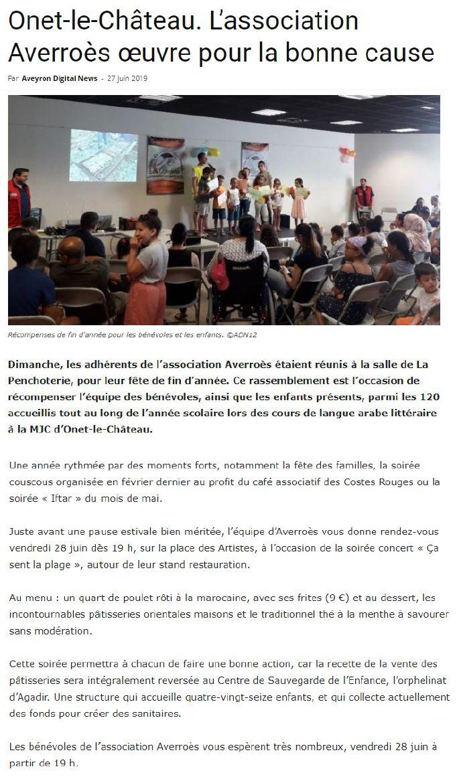 Fête de fin d'année - Aveyron Digital News 27-06-2019
