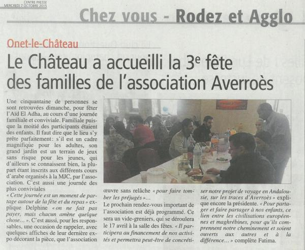 3ème Fête des familles - Centre-Presse / 7 octobre 2015