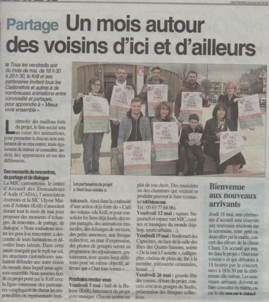 """""""Onet tous voisins"""" - Centre Presse / 27 avril 2017"""