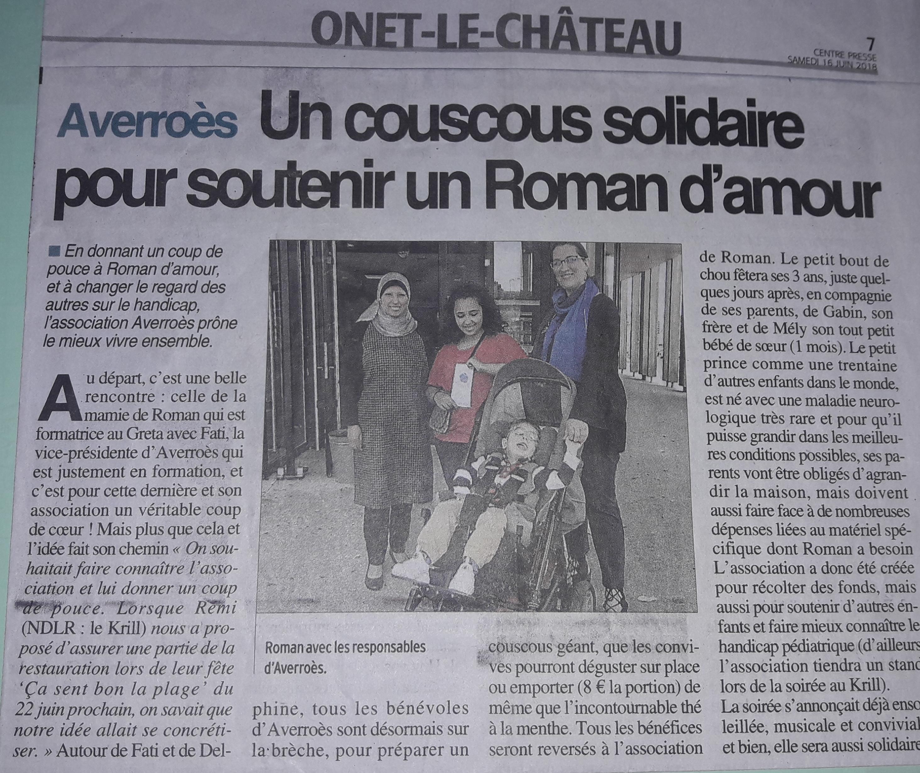 Un couscous pour Roman d'Amour - Centre-Presse 11-06-2018