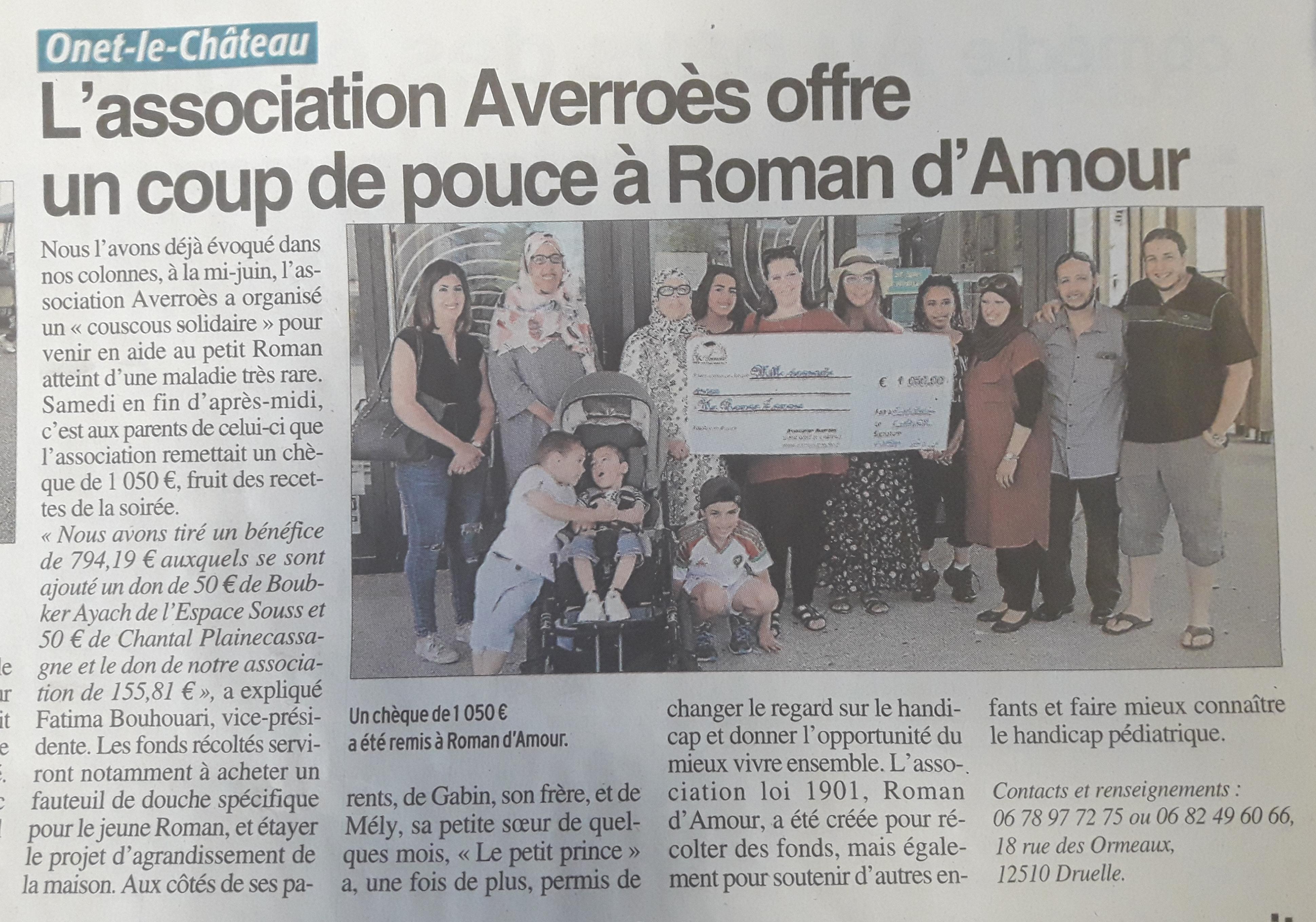 Un couscous pour Roman d'Amour - Centre-Presse 11-07-2018