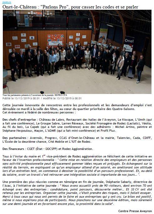Parlons Pro - Centre-Presse 13-12-2019