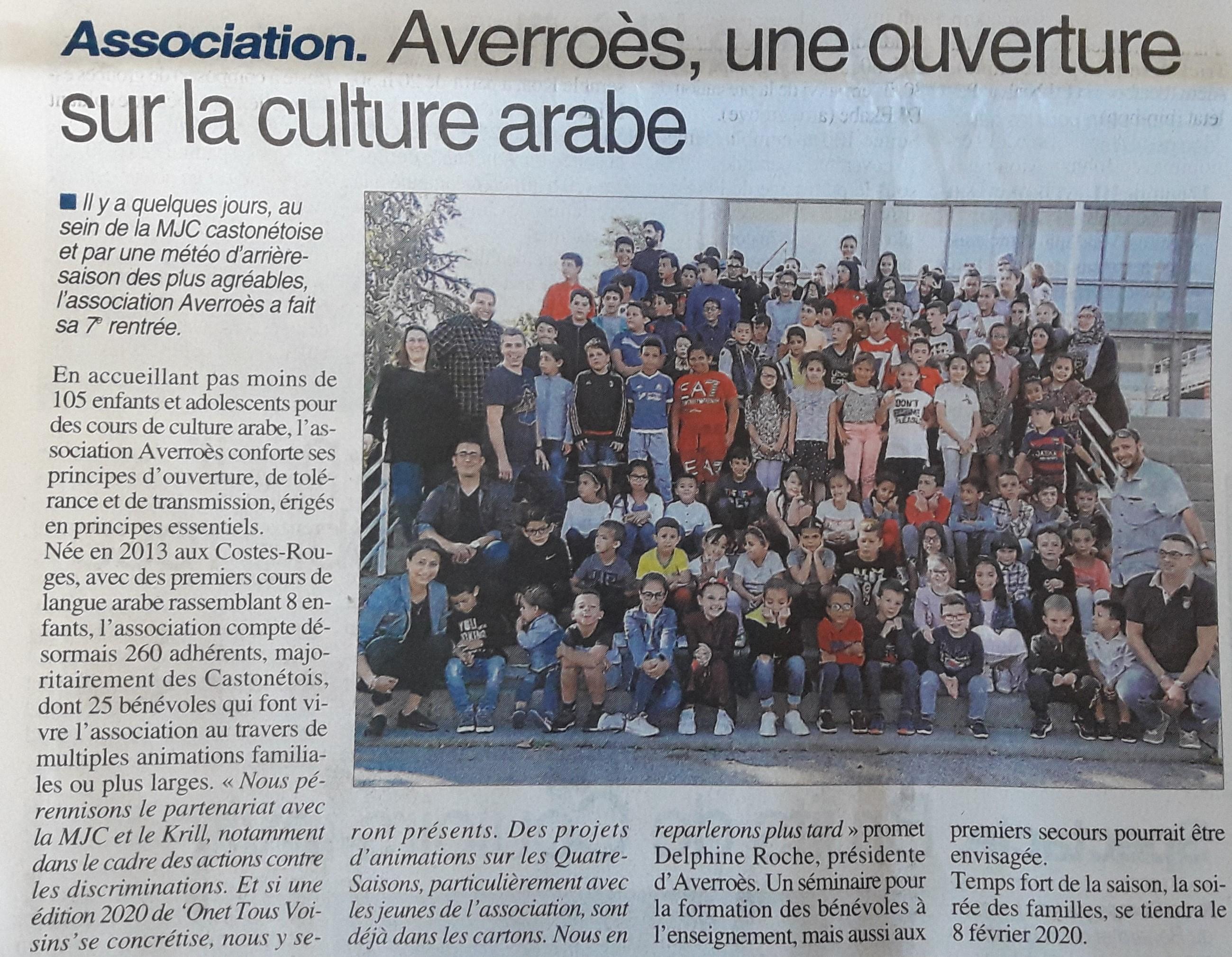 Cours d'arabe - Centre-Presse 2-10-2019