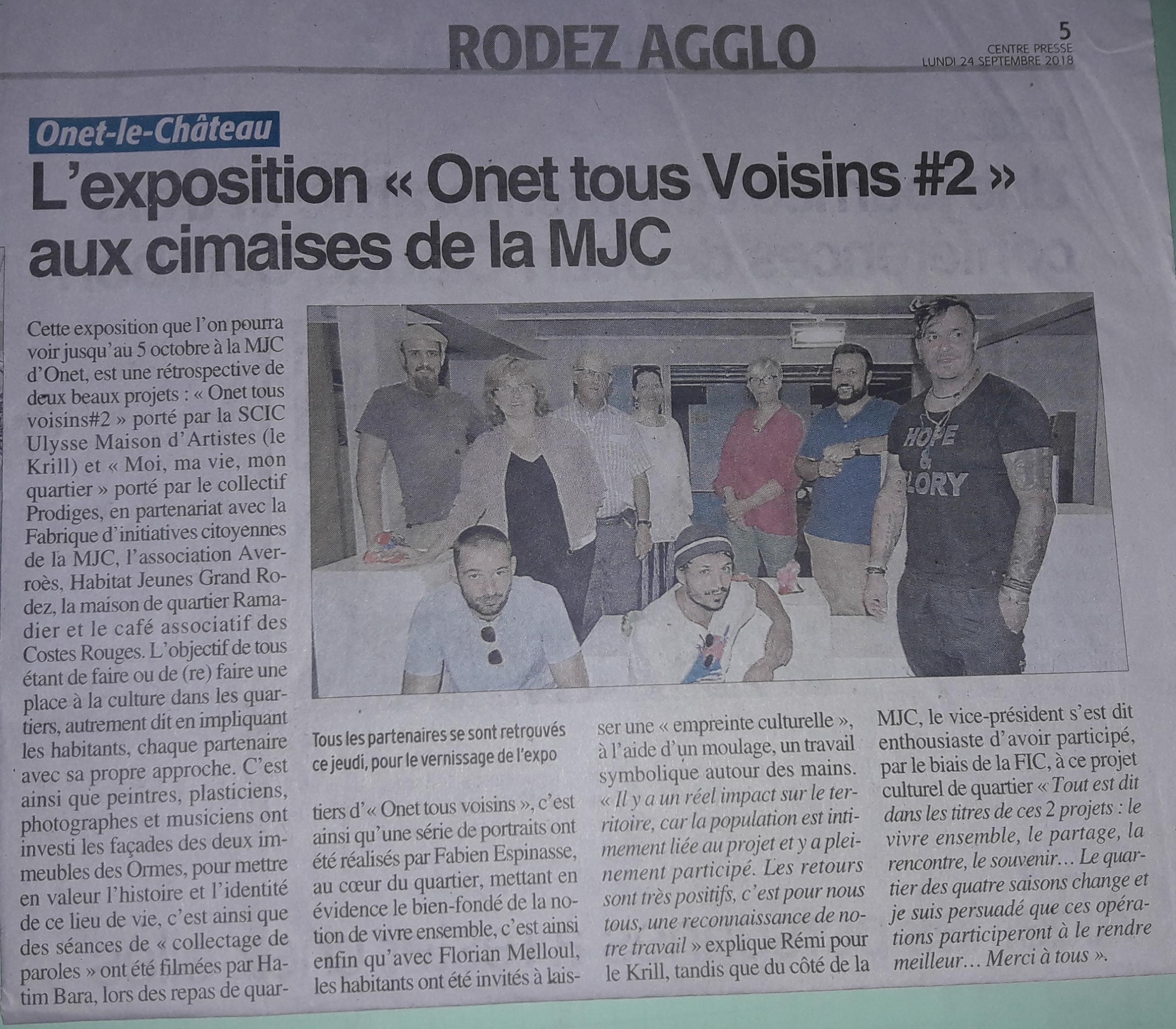 Exposition Onet Tous Voisins Centre-Presse 24-09-2018