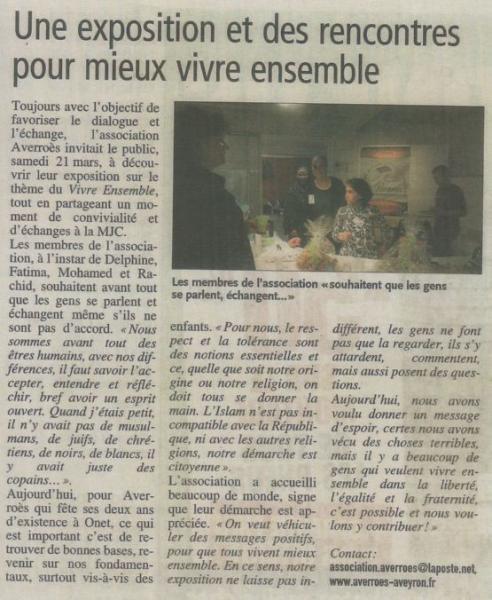 """Exposition """"Vivre ensemble"""" - Centre-Presse / 25 mars 2015"""