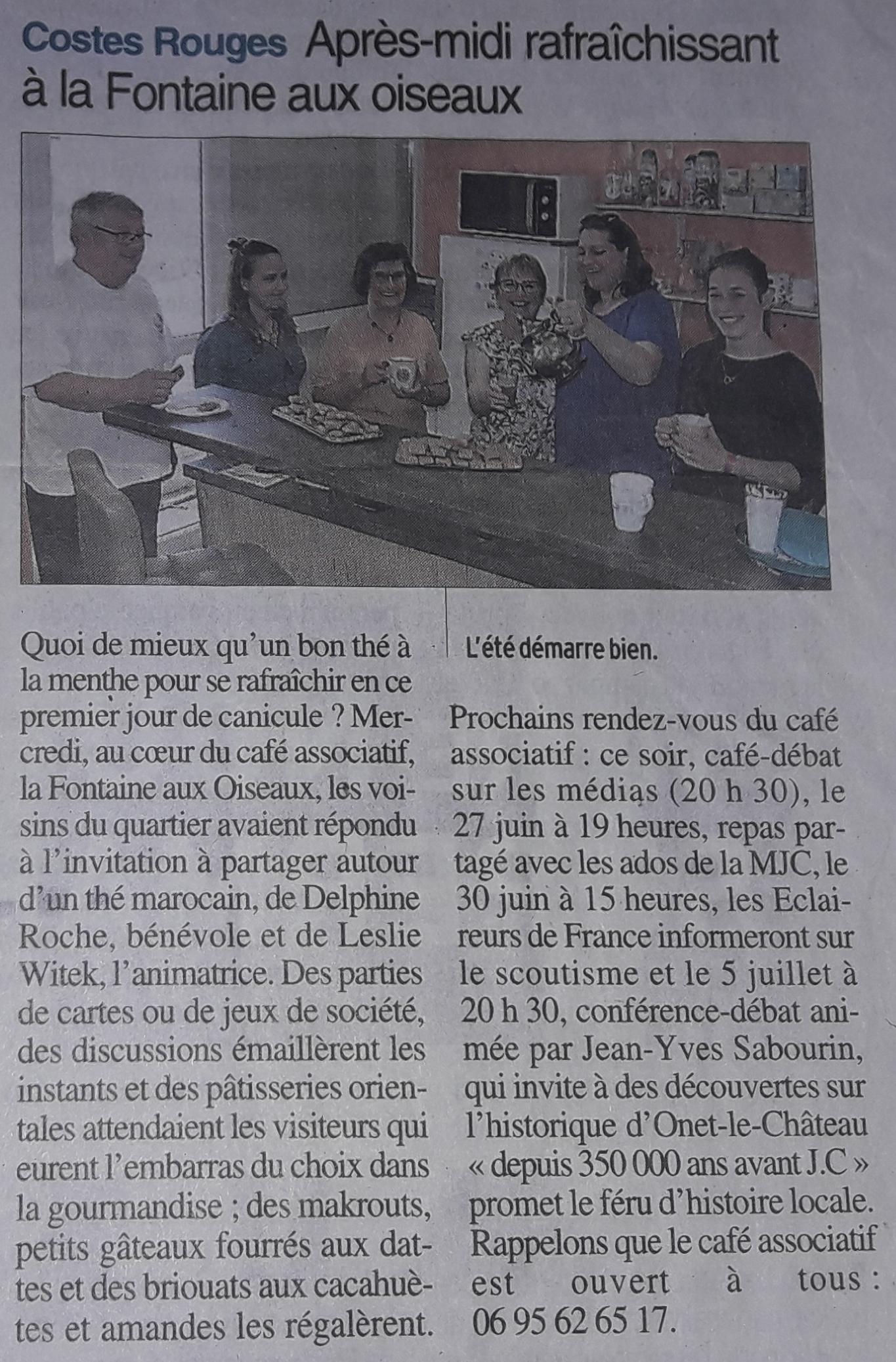 Salon de thé oriental - Centre-Presse Juin 2018
