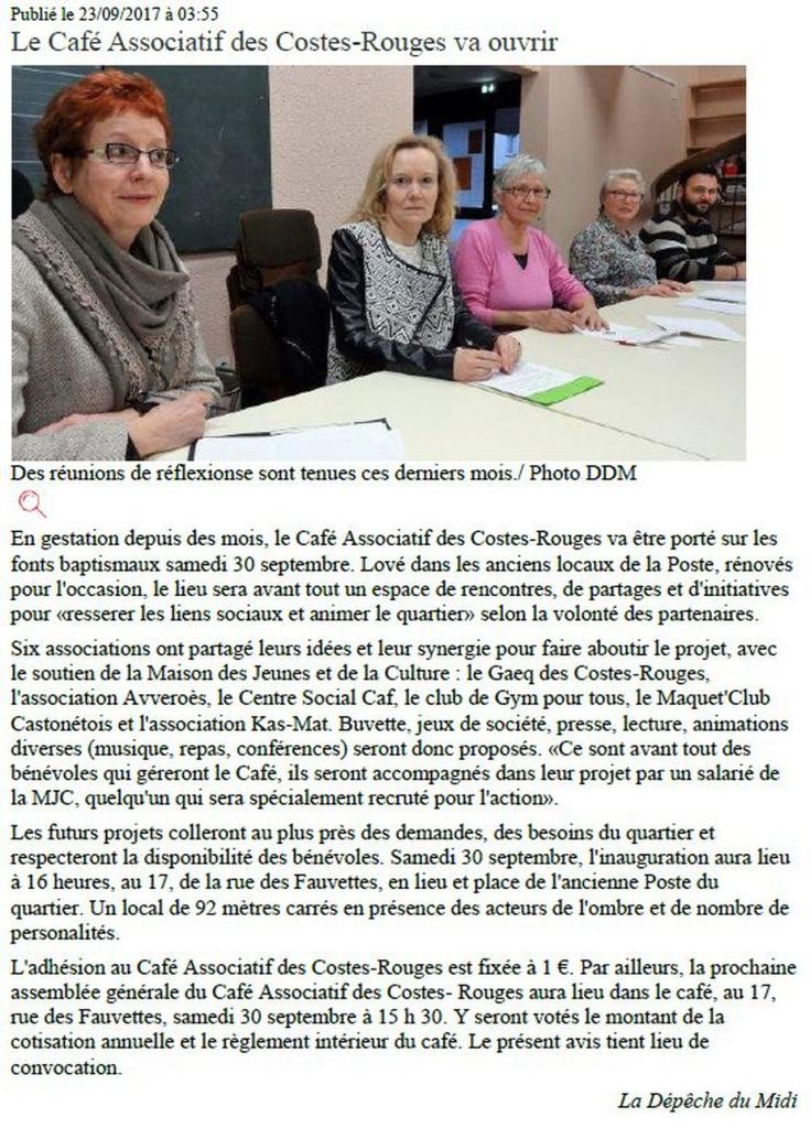 Café associatif des Costes-Rouges - Centre Presse / 23 septembre 2017