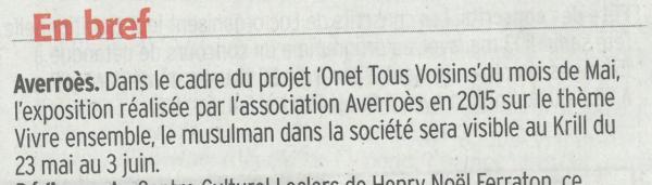 """""""Onet tous voisins"""" - Centre Presse / 5 mai 2017"""