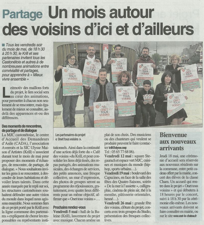 Un projet collectif porté avec le KRILL, la MJC d'Onet-le-Château et le CADA