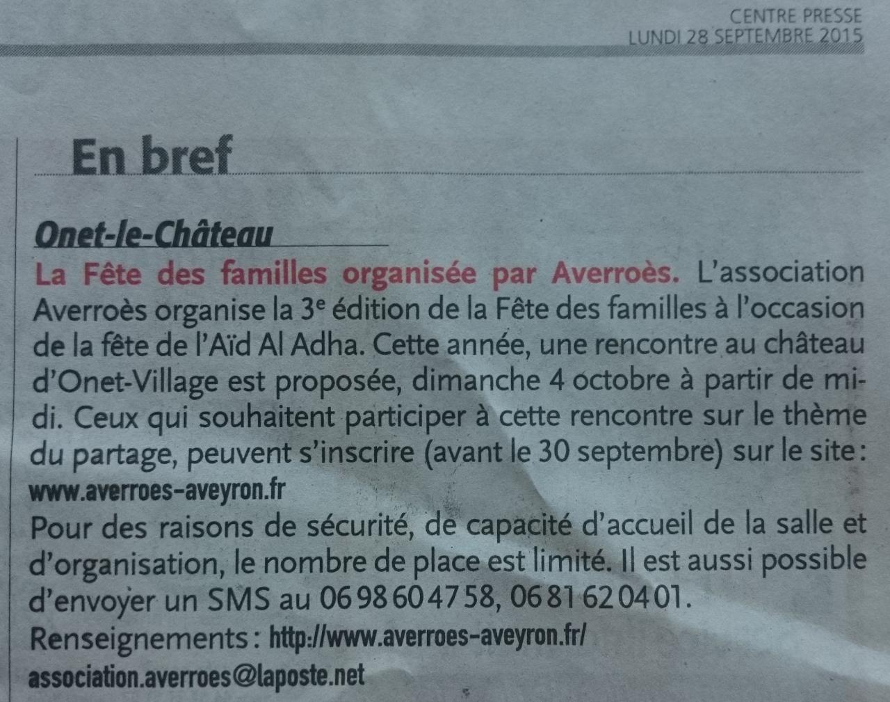 Article Centre-Presse du 28 septembre 2015