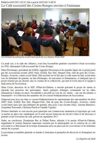 Café associatif des Costes-Rouges - La dépêche du Midi / 16 mai 2017