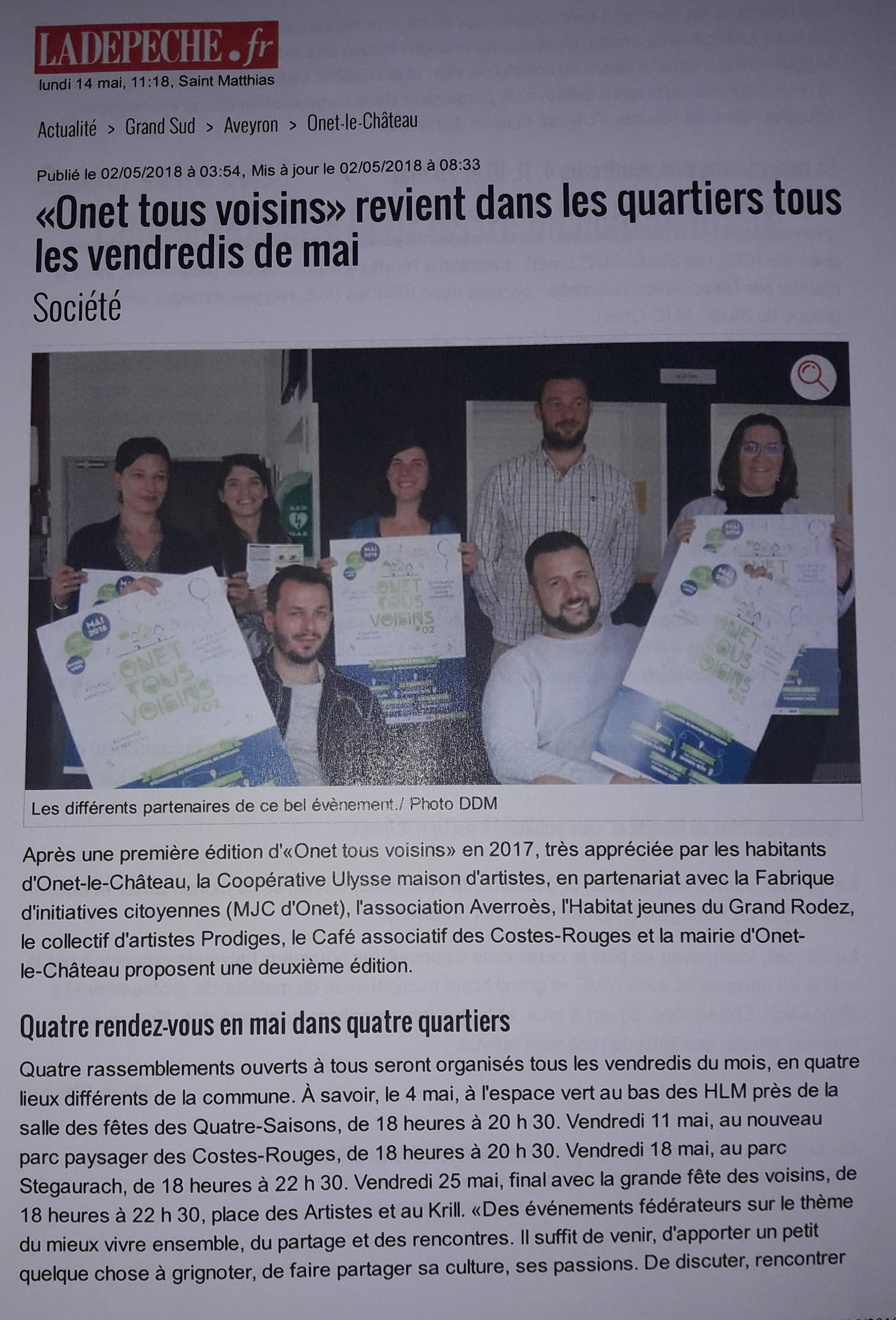Onet Tous Voisins - La Dépêche 2-05-2018