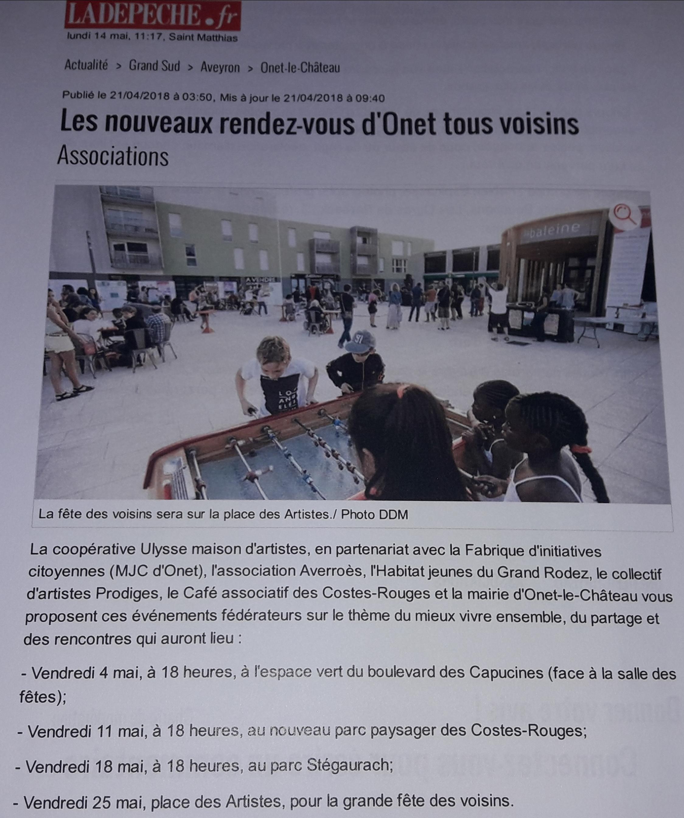 Onet Tous Voisins - La Dépêche 21-04-2018
