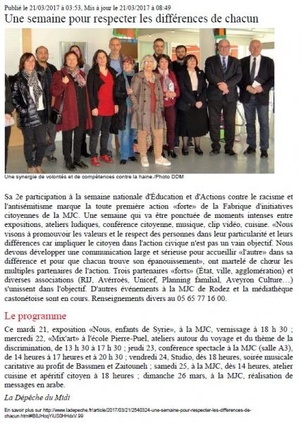 """""""Tous unis contre la haine"""" - La dépêche du Midi / 23 mars 2017"""
