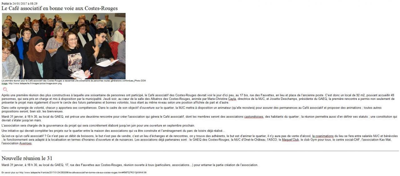 Café associatif des Costes-Rouges - La dépêche du Midi / 24 janvier 2017