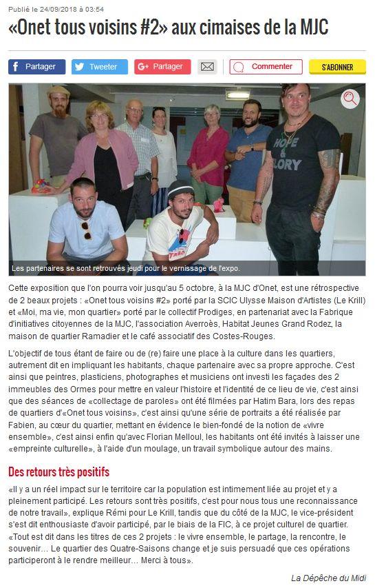 Expo Onet Tous Voisins - La Dépêche 24-09-2018
