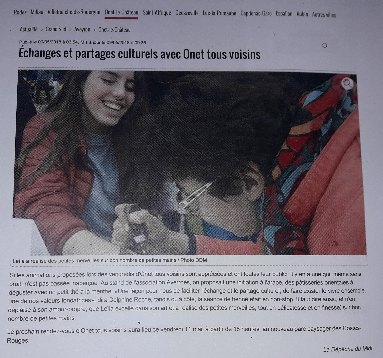 Onet Tous Voisins - La Dépêche 9-05-2018