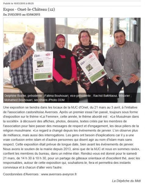 """Exposition """"Vivre ensemble"""" - La Dépêche du Midi / 16 mars 2015"""