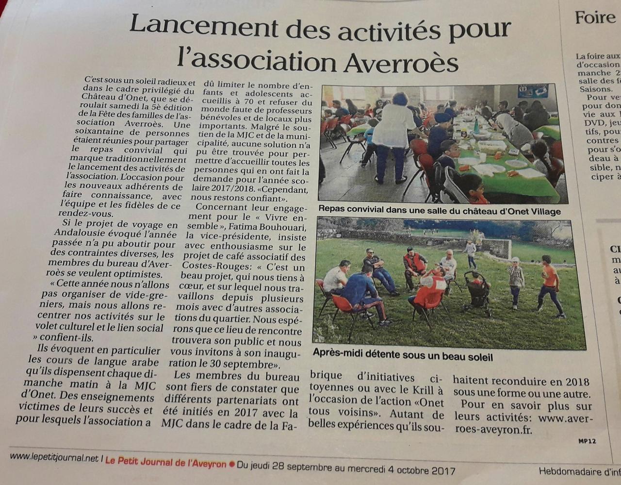 5ème Fête des Familles - Le petit journal de l'Aveyron / 28 septembre 2017