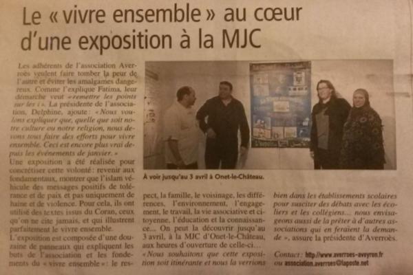 """Exposition """"Vivre ensemble"""" - Midi-Libre / 30 mars 2015"""
