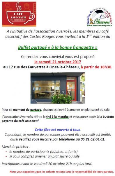 """Buffet partagé """"à la bonne franquette"""", le 21 octobre 2017"""