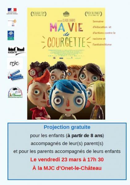"Vendredi 23 mars 2018 / Projection ""Ma vie de Courgette"""